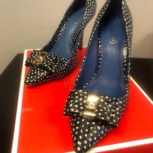 Coach faux snake polka dot heels size 6